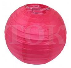 Бумажный фонарик однотонный розовый 25 см. 0920-7