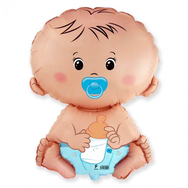 Шар фигурный Flexmetal Малыш мальчик с соской 901751