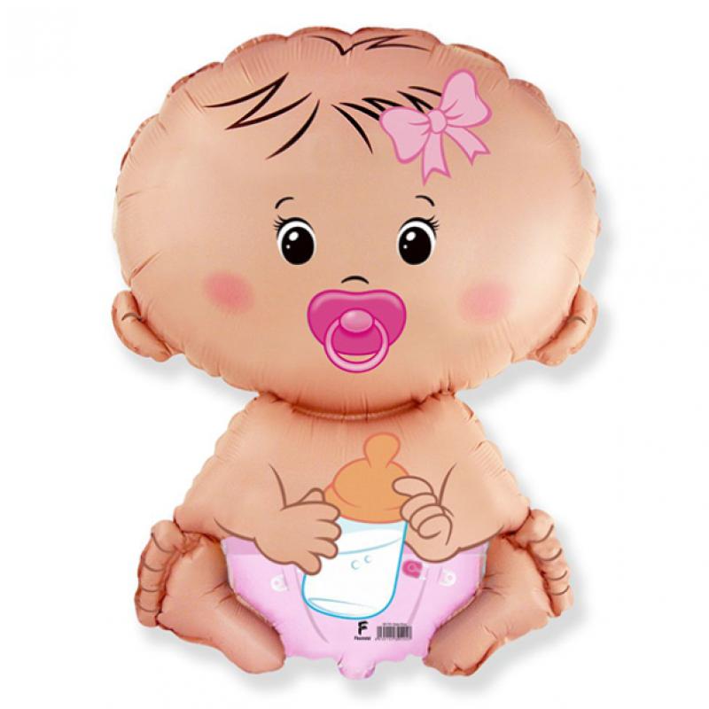 Шар фигурный Flexmetal Малыш девочка с соской 901752
