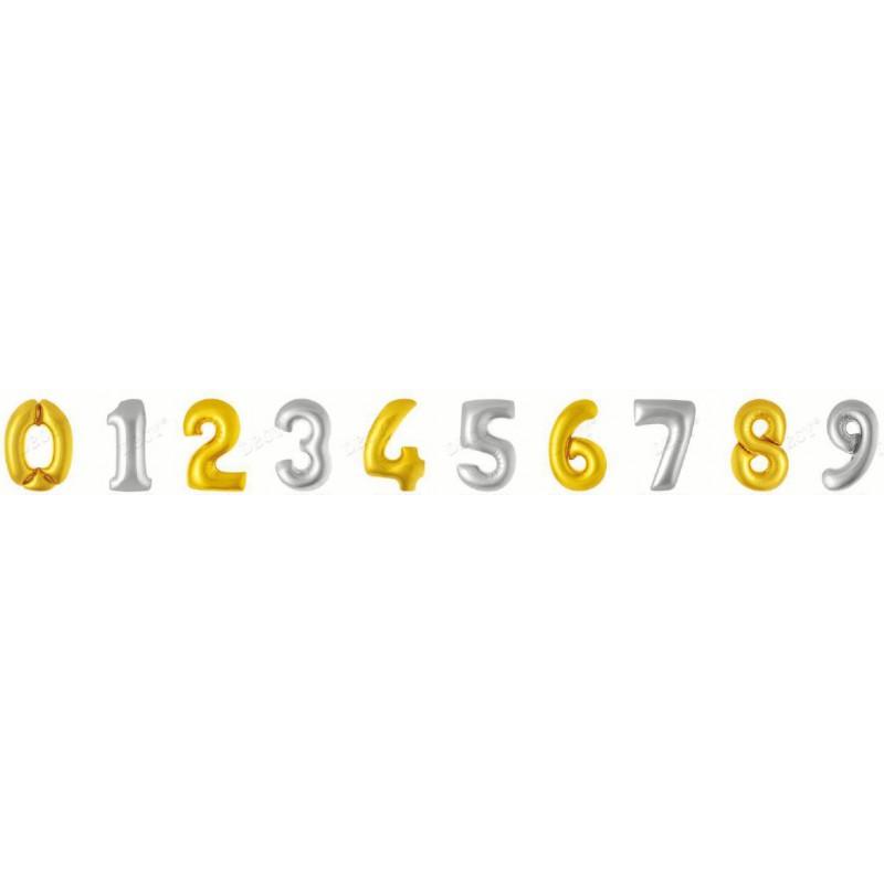 Цифры золото 45 см. Фигура Фольга