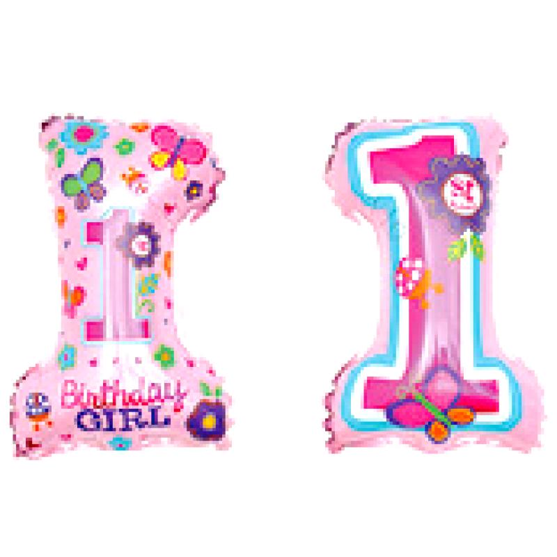Цифра 1 розовая под палочку Фигура Фольга