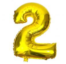 Цифра золото 2 Фигура Фольга
