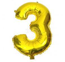 Цифра золото 3 Фигура Фольга