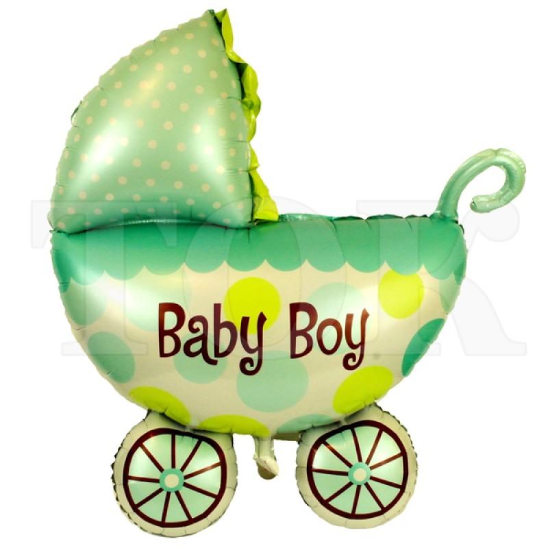 """Коляска """"Baby Boy"""" голубая Фигура Фольга"""