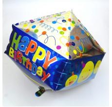 Кубик Happy синий серебро Фигура Фольга