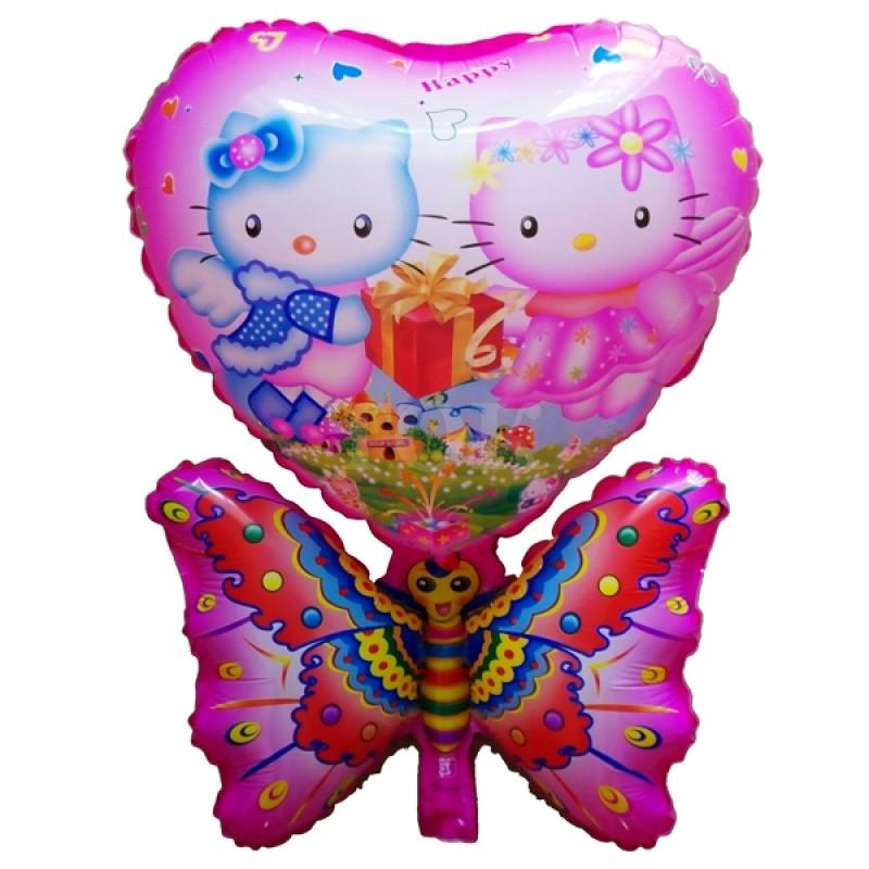 2 Кити с бабочкой Розовая Фигура Пленка