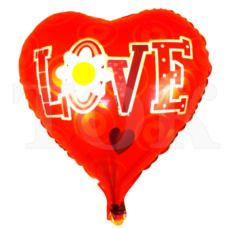 """Сердце """"Love + Ромашка"""" на красном фоне"""