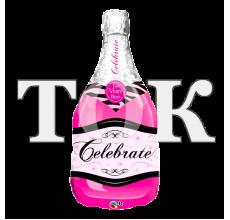 Бутылка шампанского розовая под палочку Фигура фольга