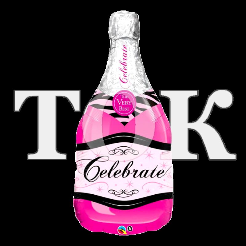 Бутылка шампанского розовая Фигура фольга