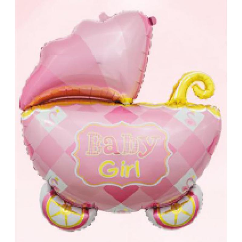 Коляска 3 розовая Фигура Фольга