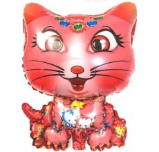 Кошка розовая фигура фольга