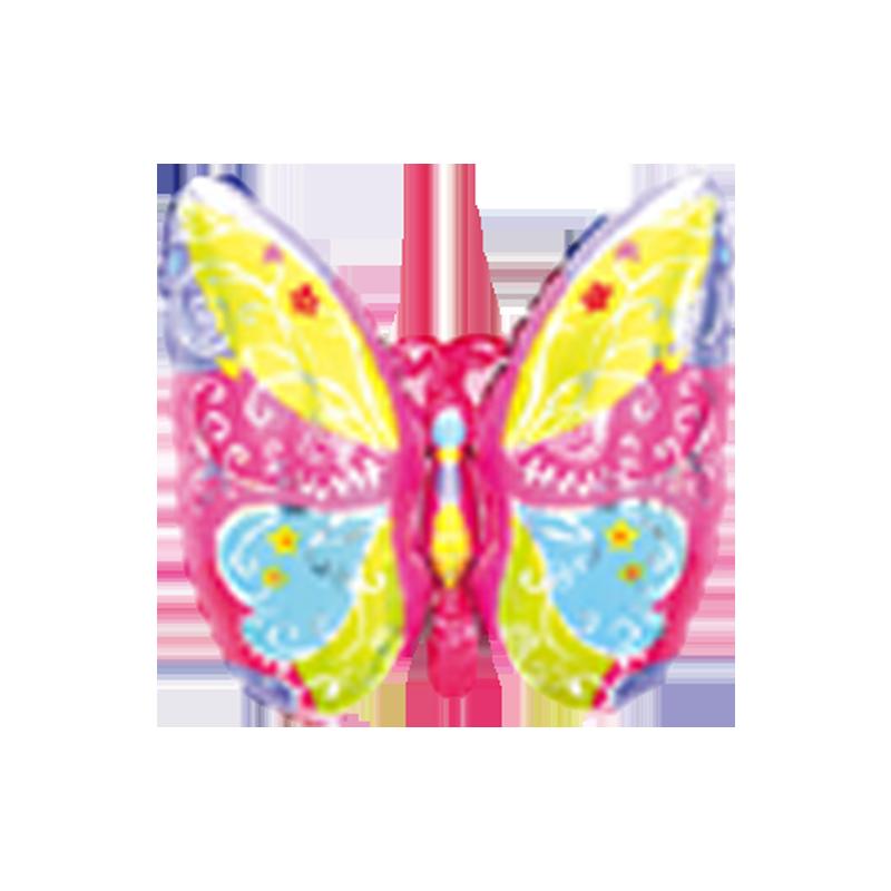Бабочка розовая Фигура Фольга Под палочку