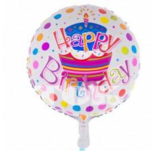 """""""Happy Birthday"""" белая с тортом в цветной горошек Таблетка Фольга"""