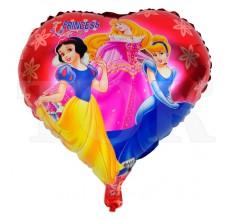 Шарик сердце 3 принцессы на красном  фоне
