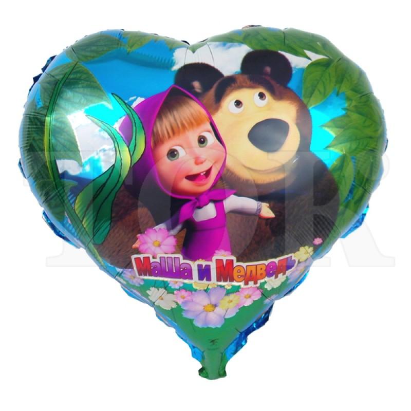 Сердце фольга 24 дюйма Маша и медведь