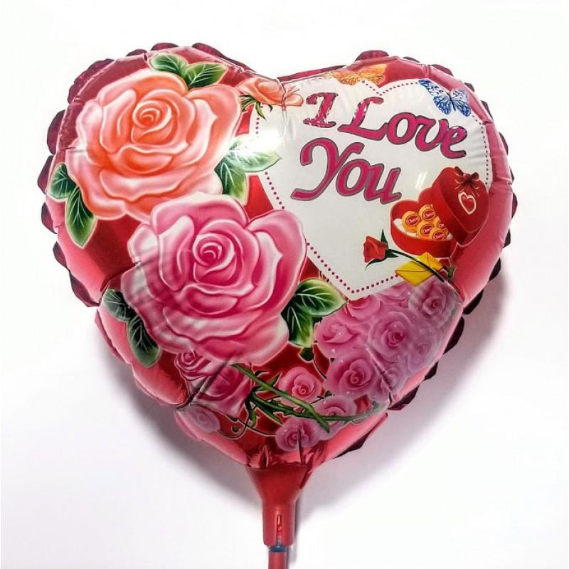 Шар на палочке Сердце 1 красное фольга