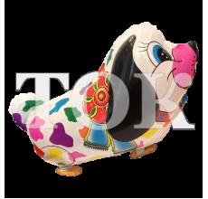 Шар ходячий собака разноцветные пятна с бантом
