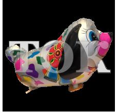 Шар ходячий собака разноцветные пятна с бантом серебро