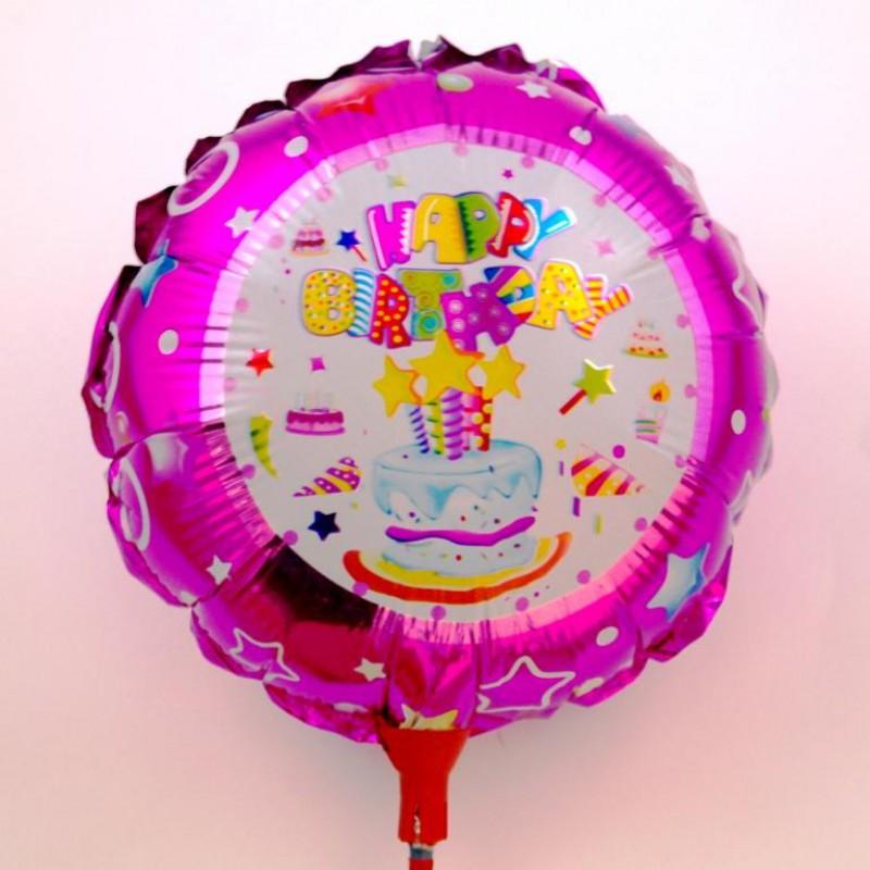 Шар на палочке Happy Bithday тортик 2 фольга