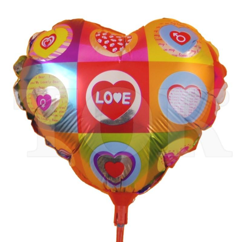 "Шар на палочке ""Love"" с сердечками 0935-103 фольга"