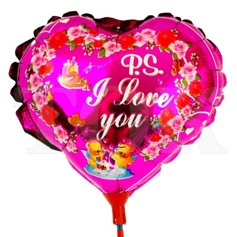 "Шар на палочке ""I Love You"" 0935-104 фольга"
