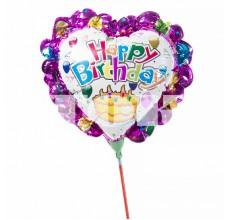 "Шар на палочке ""Happy Birthday"" фиолетовый фольга"