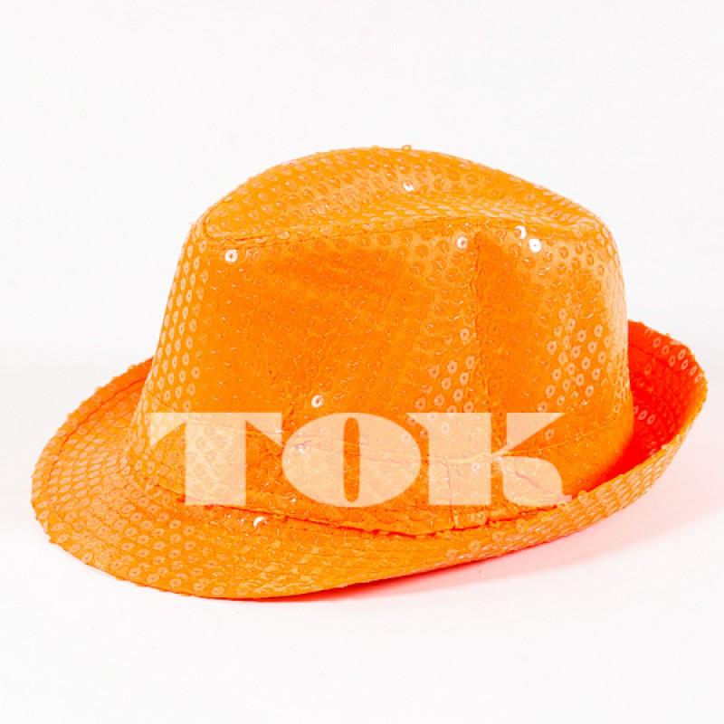 Шляпа с пайетками неон