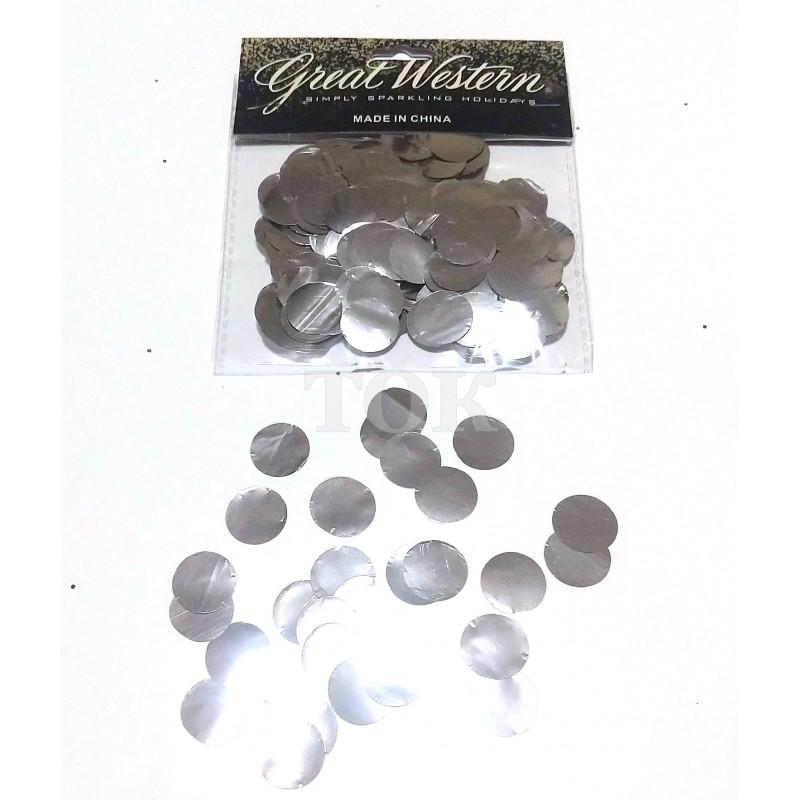 Конфетти кружочки 15 мм серебро