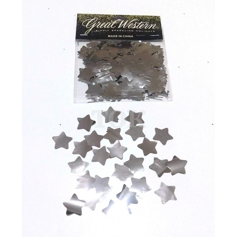 Конфетти звездочки 15 мм серебро