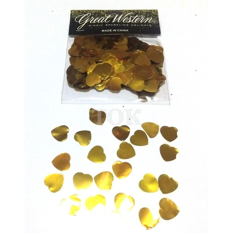 Конфетти сердечки 15 мм золото