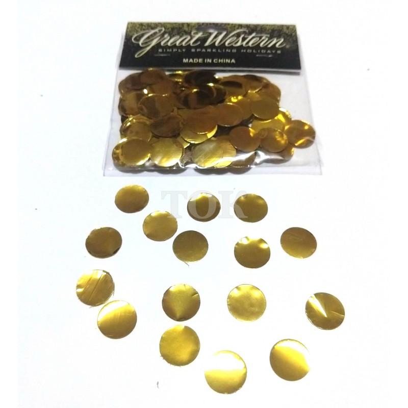 Конфетти кружочки 15 мм золото