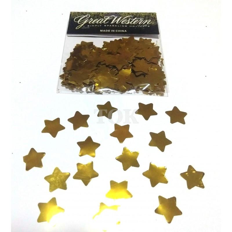 Конфетти звездочки 15 мм золото