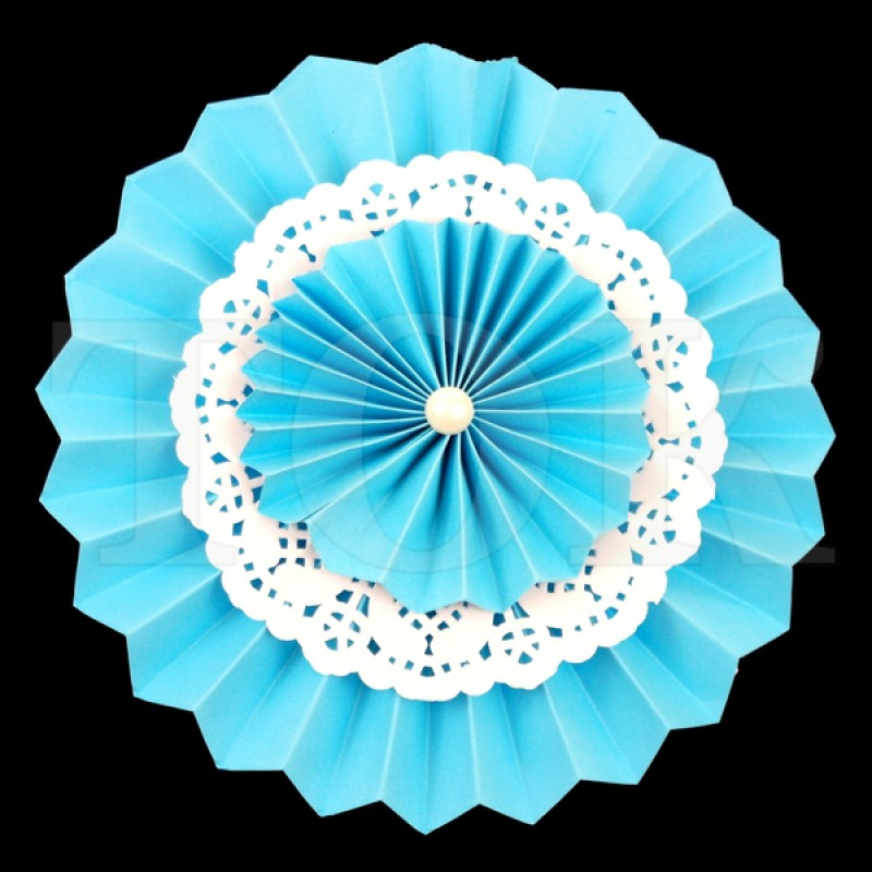 Веер № 0924-59 с жемчугом  20 см. голубой