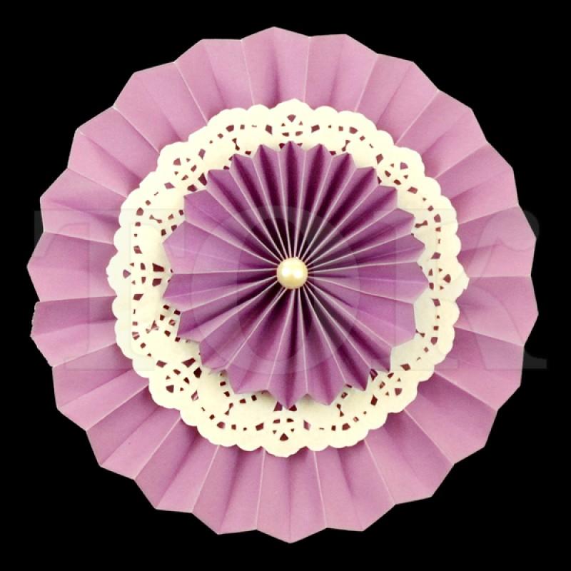 Веер № 0924-59 с жемчугом  20 см. фиолетовый