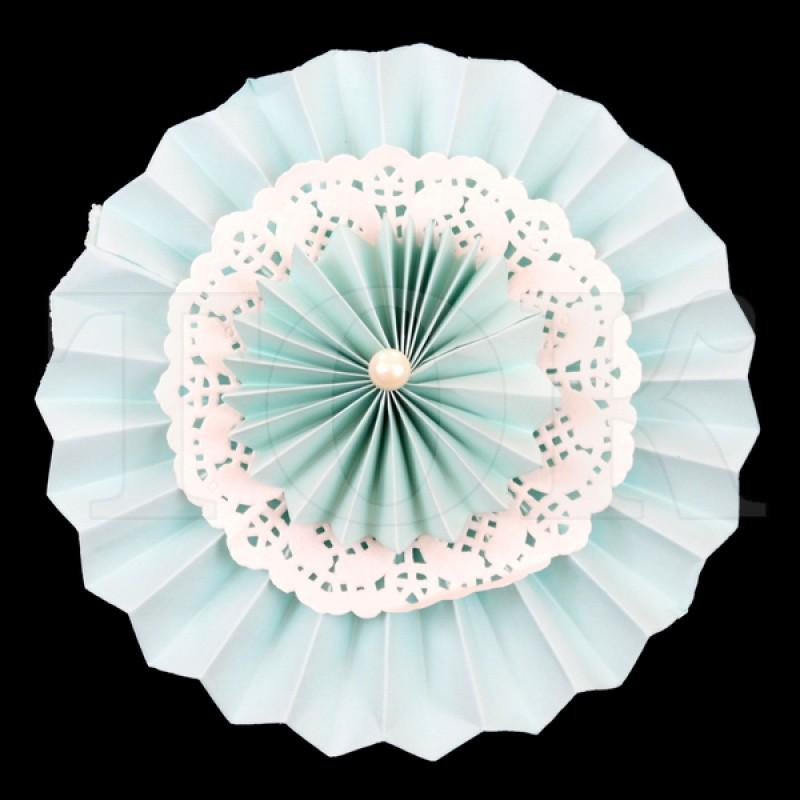 Веер № 0924-59 с жемчугом  20 см. светло-голубой