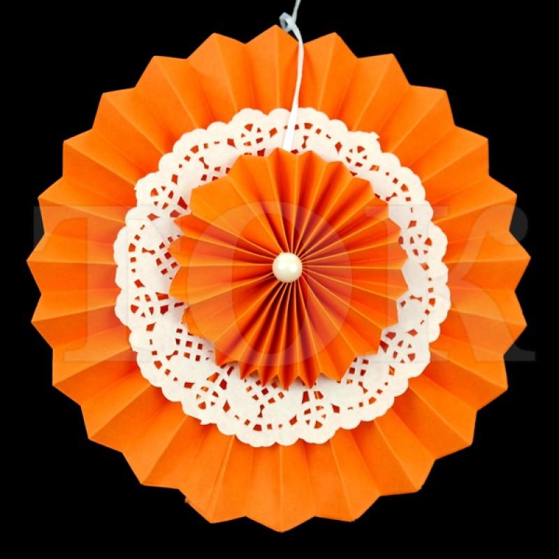 Веер № 0924-59 с жемчугом  20 см. оранжевый