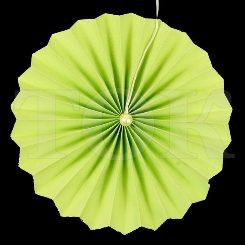 Веер № 0924-53 с жемчугом  20 см. салатовый