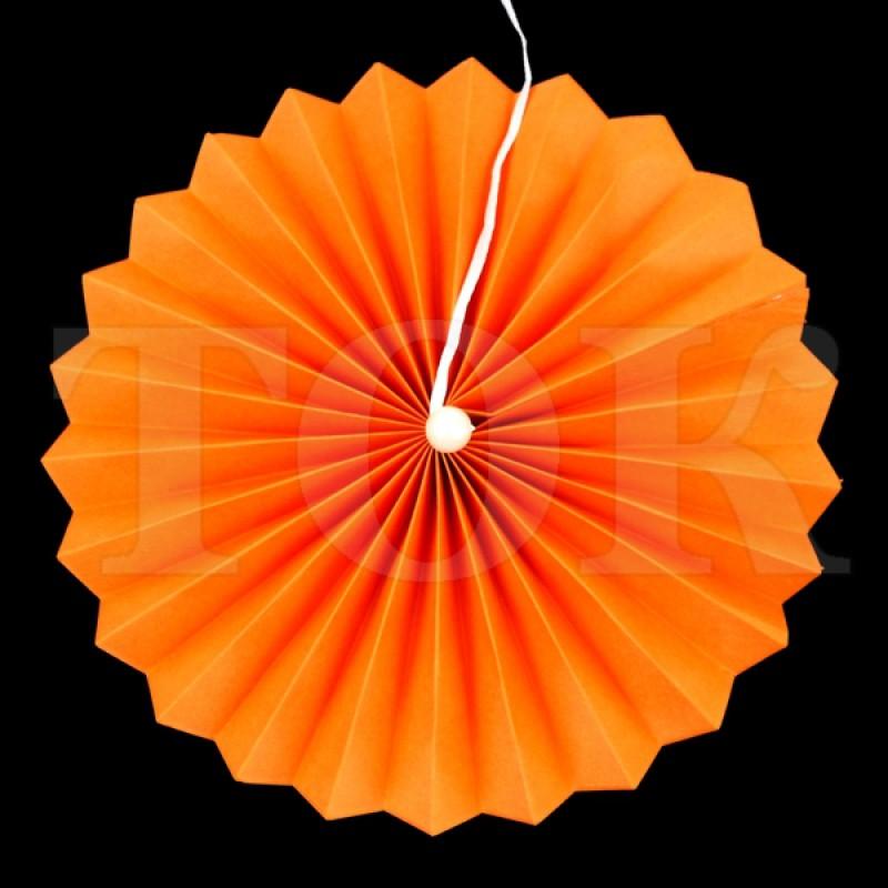 Веер № 0924-53 с жемчугом  20 см. оранжевый