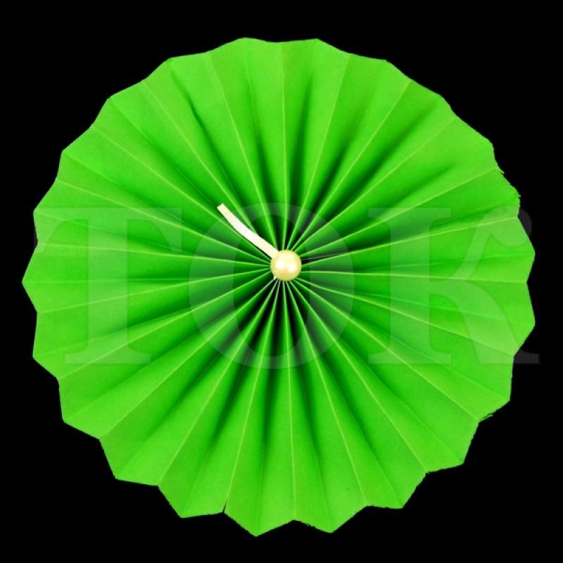 Веер № 0924-53 с жемчугом  20 см. зеленый