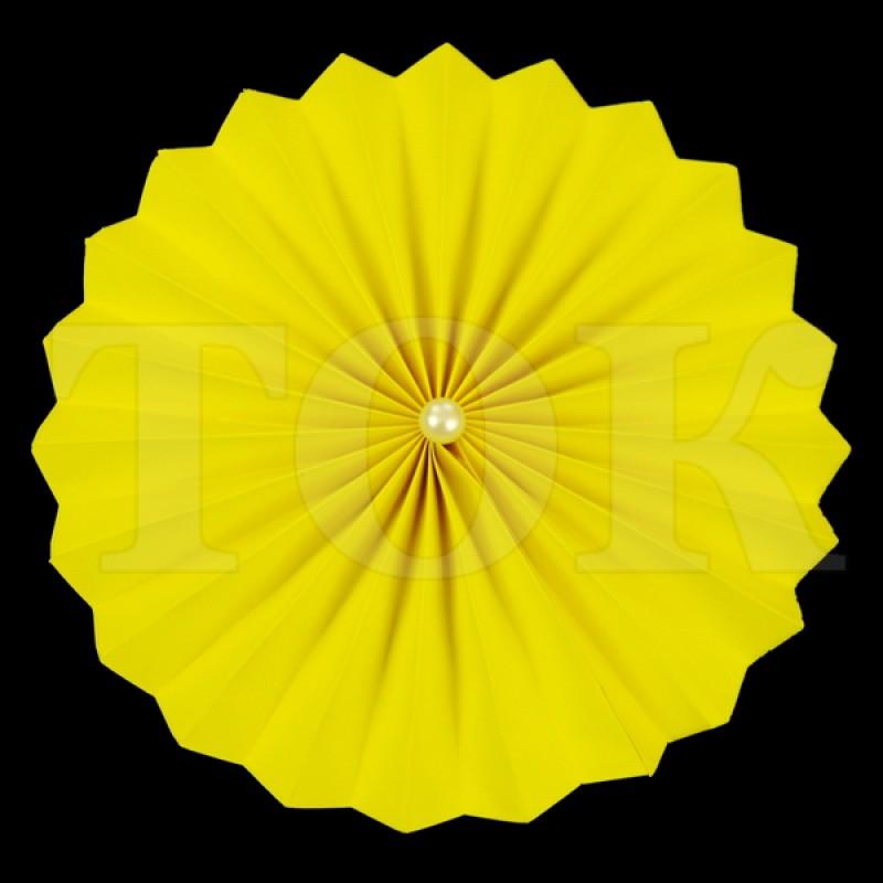 Веер № 0924-53 с жемчугом  20 см. желтый
