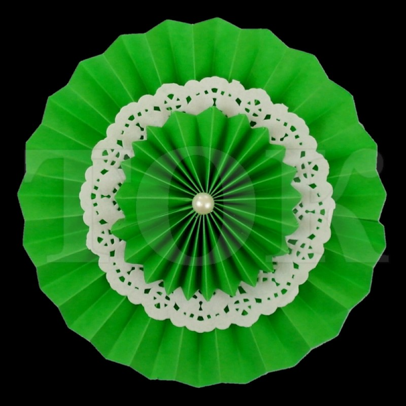 Веер № 0924-59 с жемчугом  20 см. зеленый