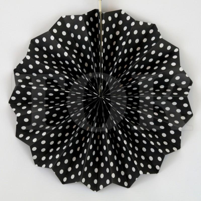Веер № 0924-89   20 см. черный